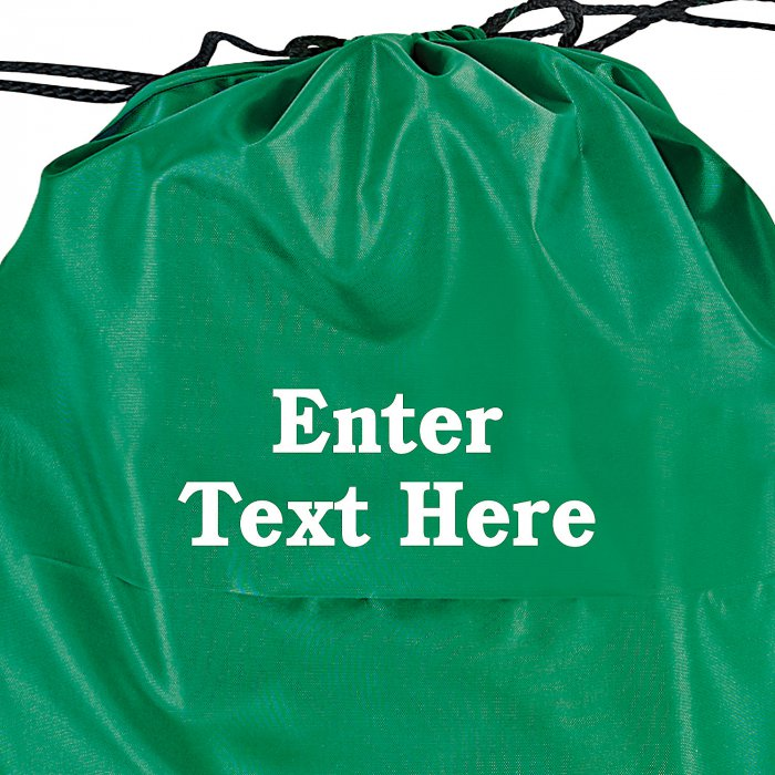 Personalized Large Green Drawstring Bags (Per Dozen)