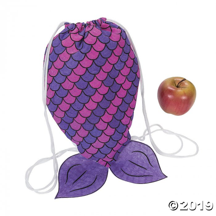 Color Your Own Medium Mermaid Tail Canvas Drawstring Bags (Per Dozen)