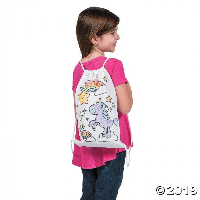Color Your Own Medium Unicorn Canvas Drawstring Bags (Per Dozen)