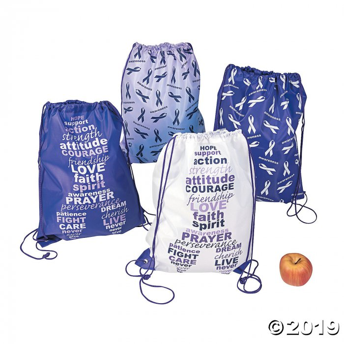 Large Purple Awareness Ribbon Drawstring Bags (Per Dozen)