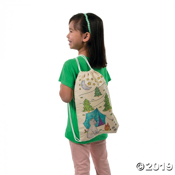 Color Your Own Medium Camp Canvas Drawstring Bags (Makes 12)