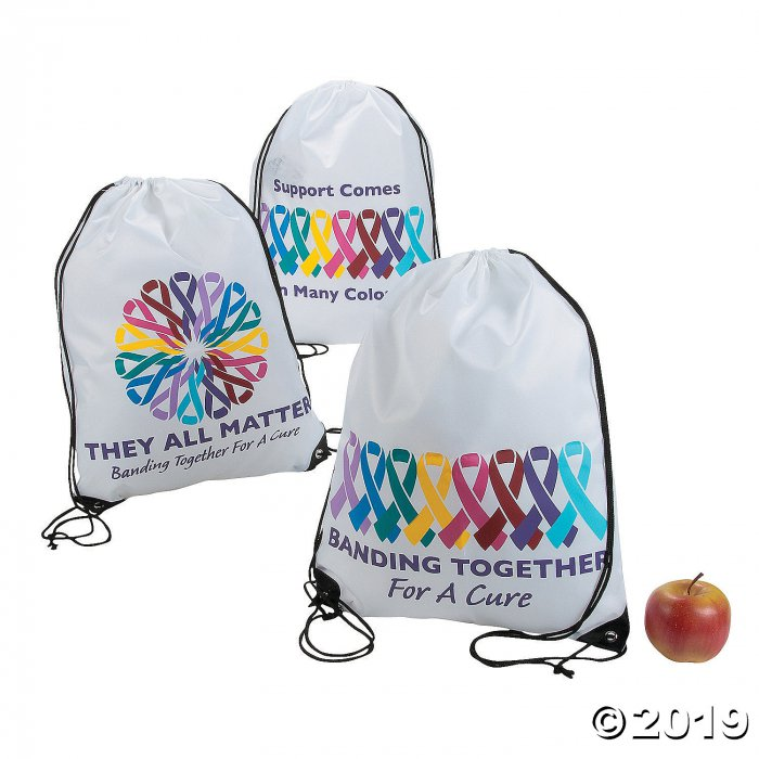 Large Cancer Awareness Drawstring Bags (Per Dozen)