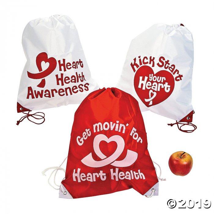 Large Heart Health Awareness Drawstring Bags (Per Dozen)