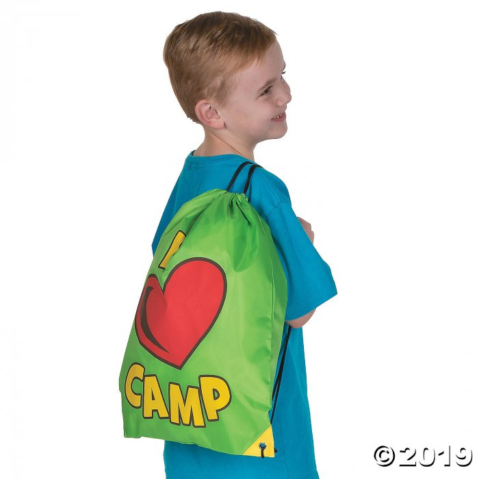 Large I Love Camp Drawstring Bags (Per Dozen)