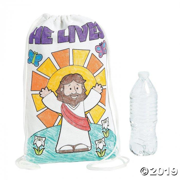 Color Your Own Medium He Lives Canvas Drawstring Bags (Per Dozen)