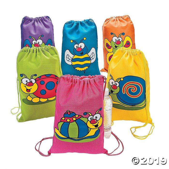 Medium Spring Bug Canvas Drawstring Bags (Per Dozen)