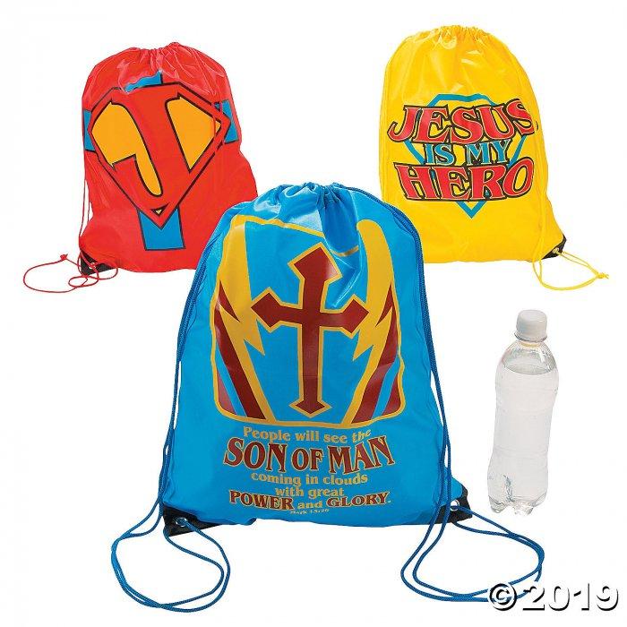 Large Jesus Is My Superhero Drawstring Bags (Per Dozen)