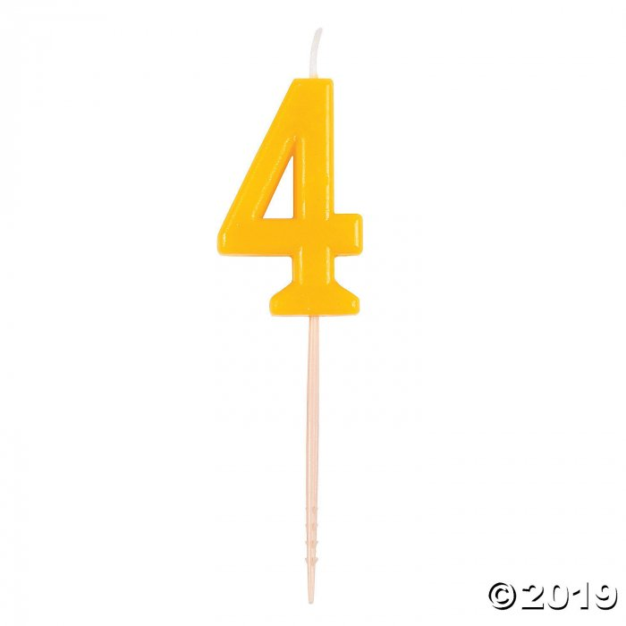 Yellow Number 4 Candle (1 Piece(s))