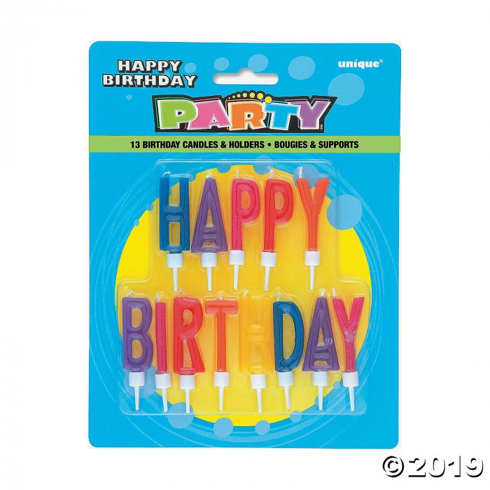 Multicolored Happy Birthday Letter Candles (1 Set(s))