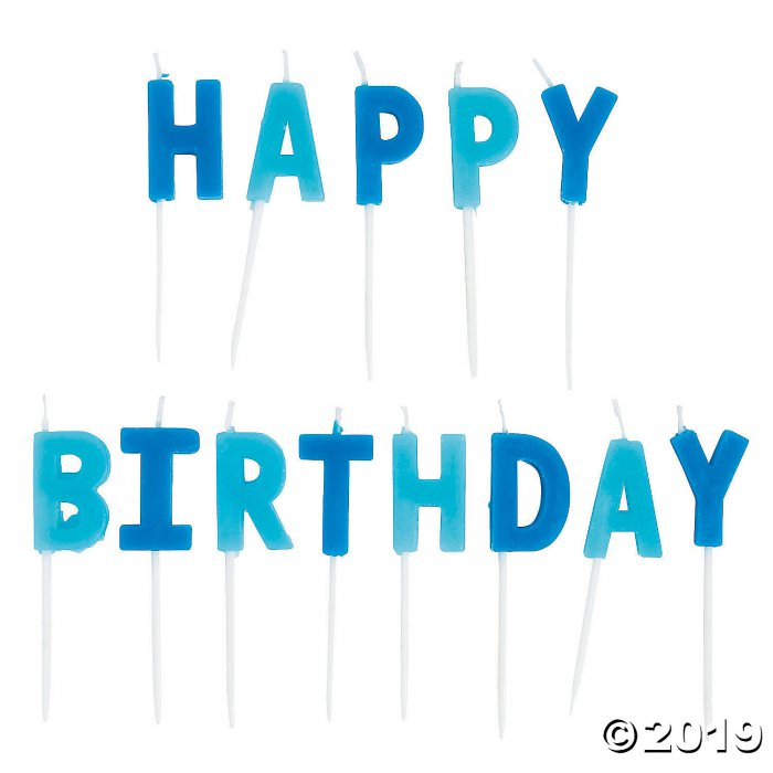 Blue Happy Birthday Letter Candles (1 Set(s))