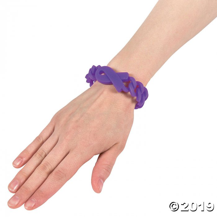 Purple Ribbon Awareness Chain Rubber Bracelets (Per Dozen)