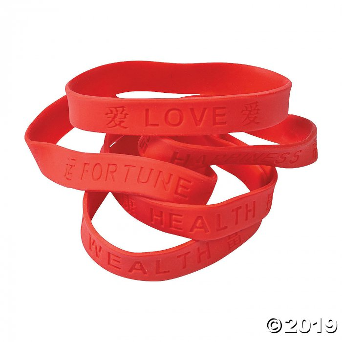 Chinese Character Rubber Bracelets (24 Piece(s))