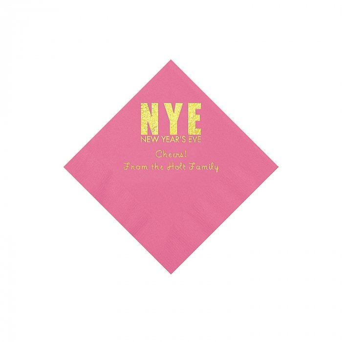 Candy Pink New Year's Eve Personalized Napkins with Gold ...