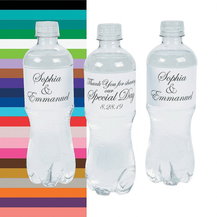 Personalized Traditional Script Wedding Water Bottle Labels (50 Piece(s))