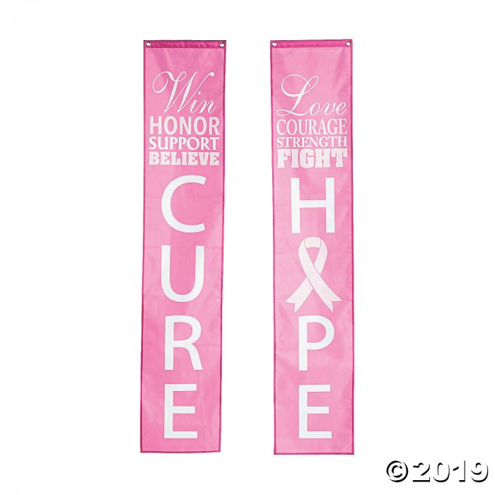 Pink Ribbon Pillar Bunting with Words (1 Set(s))