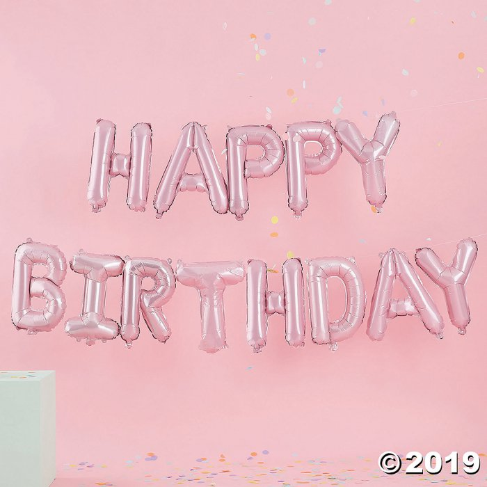 Pastel Pink Happy Birthday Mylar Balloon Banner (1 Piece(s))