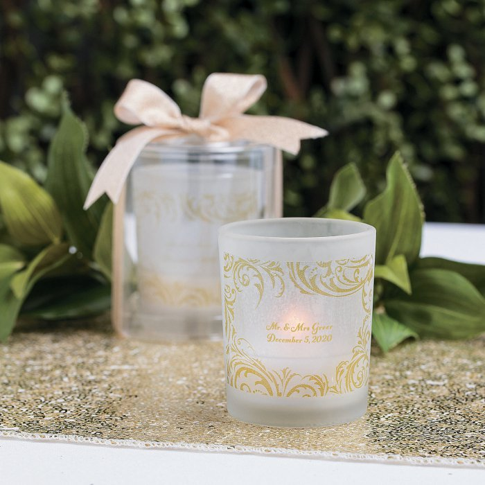 Personalized Fairy Tale Wedding Votive Candle Holders (Per Dozen)