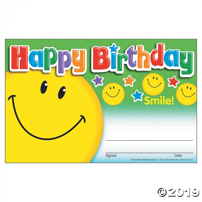 Happy Birthday Smile Awards (1 Set(s))
