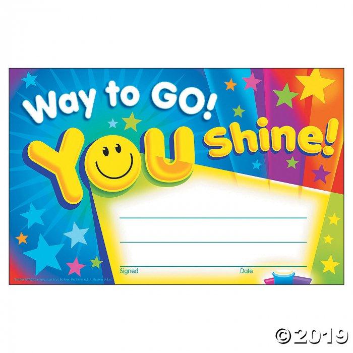 Way to Go! You Shine! Award Certificates (1 Unit(s))
