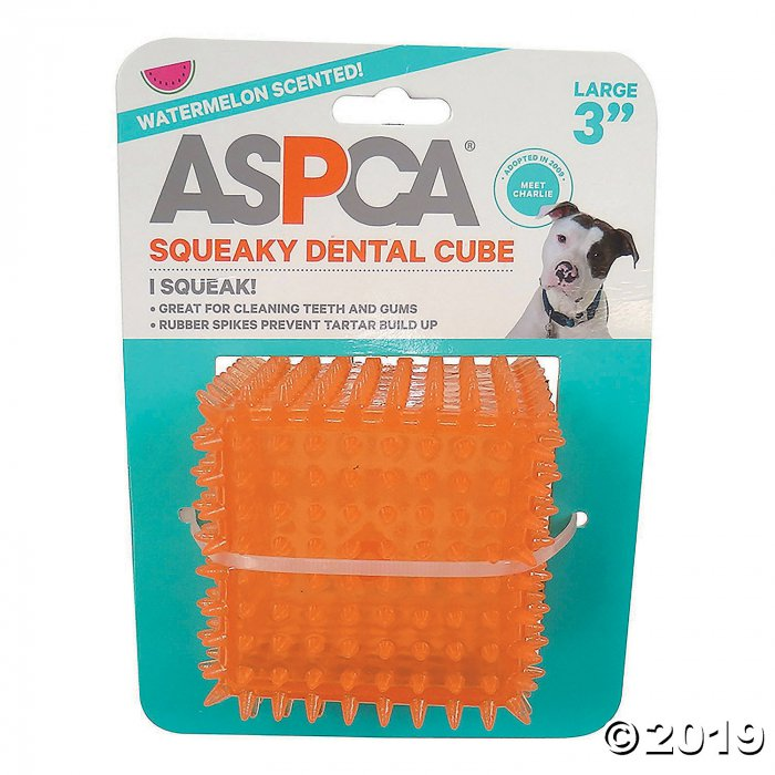 "3"" Squeaky Dental Cube Dog Toy-Orange (1 Piece(s))"