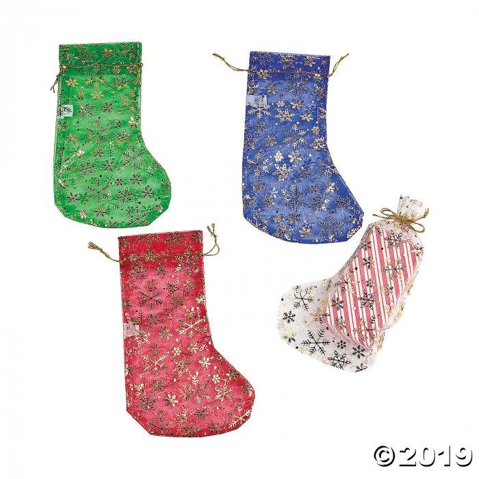 Snowflake Christmas Stocking Drawstring Bags (Per Dozen)