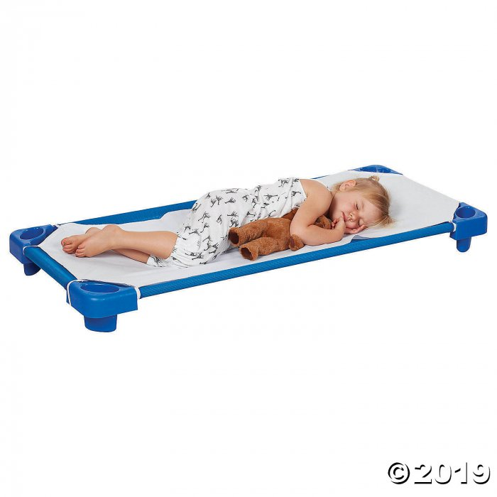 Stackable Kiddie Cot Standard with Sheet Ready-to-Assemble - Blue - 6PK (6 Unit(s))