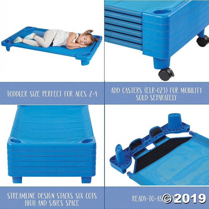 Streamline Cot Toddler Ready-to-Assemble - Blue - 6PK (6 Unit(s))