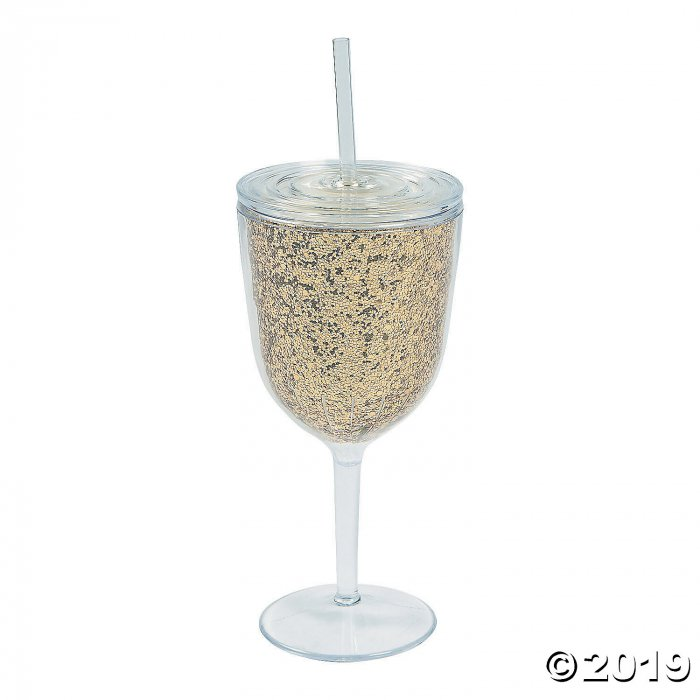 Gold Glitter Plastic Wine Glass with Lid & Straw (1 Piece(s))