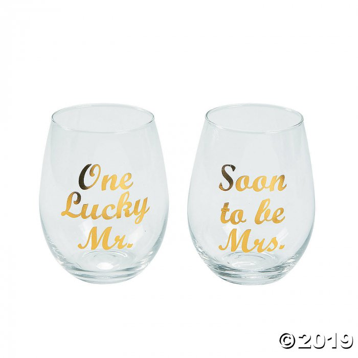 Soon To Be Mrs. Champagne Flute Glass Set of 2 Wedding Engagement One Lucky Mr