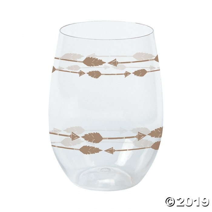 Tribal Baby Shower Stemless Plastic Wine Glasses (6 Piece(s))