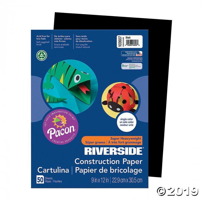 "Pacon® Riverside® Black 9"" x 12"" Heavyweight Construction Paper - 50 Sheets (50 Piece(s))"