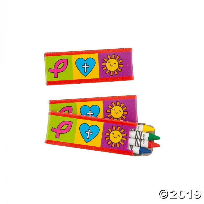 4-Color Religious Valentine's Day Crayons - 24 Boxes (24 Piece(s))