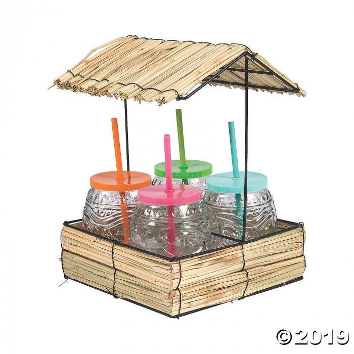 Straw Hut with Plastic Cups & Straws (1 Set(s))