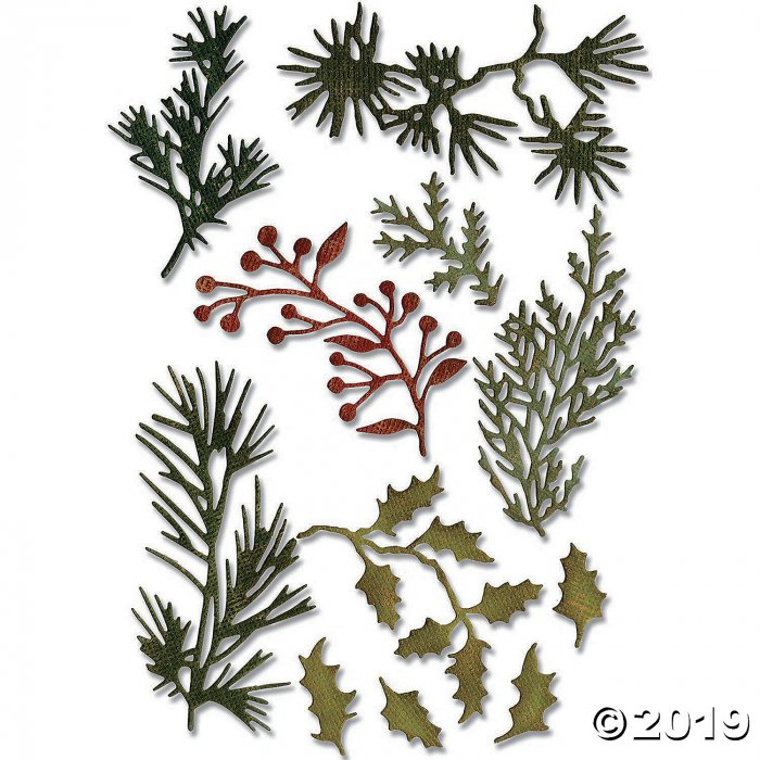 Tim Holtz® Sizzix® Thinlits Mini Holiday Greens Cutting Dies (1 Set(s))