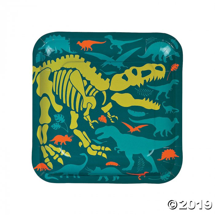 Dino Dig Square Paper Dinner Plates (8 Piece(s))