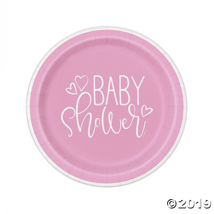 Pink Hearts Baby Shower Paper Dinner Plates (8 Unit(s))