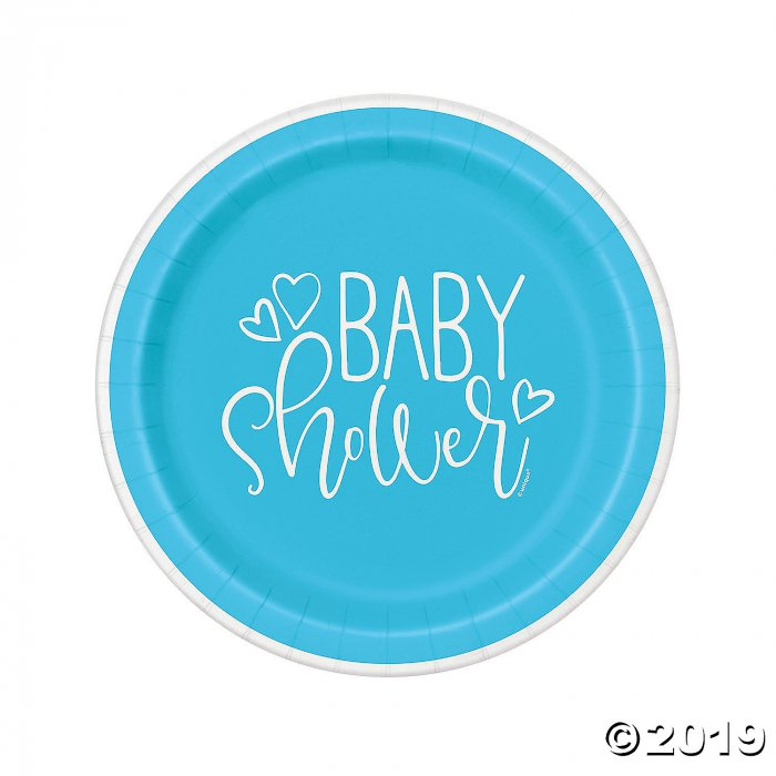 Blue Hearts Baby Shower Paper Dinner Plates (8 Piece(s))