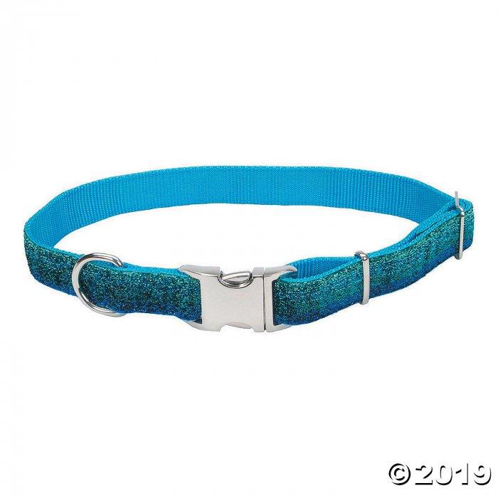 Pet Attire Sparkles Adjustable Dog Collar with Metal Buckle - Blue (1 Piece(s))