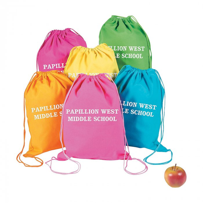 Personalized Large Neon Canvas Drawstring Backpacks (Per Dozen)
