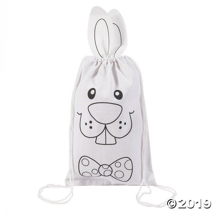 Color Your Own Medium Bunny Canvas Drawstring Bags (Per Dozen)