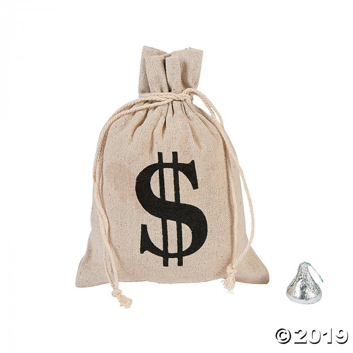 Money Burlap Drawstring Bags (Per Dozen)