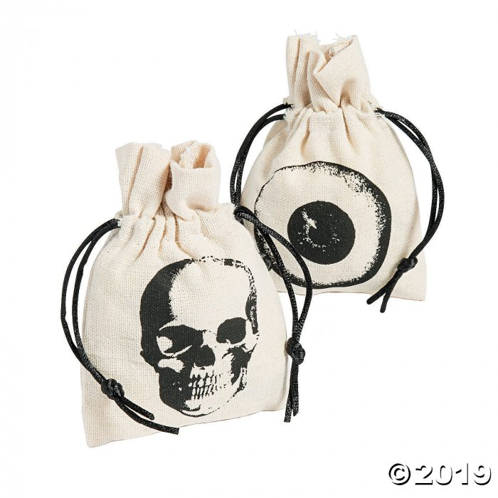 Mini Vintage Halloween Canvas Drawstring Treat Bags (Per Dozen)