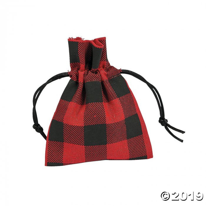 Buffalo Plaid Drawstring Bags (Per Dozen)