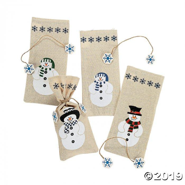 Painted Canvas Snowman Drawstring Treat Bags (Per Dozen)