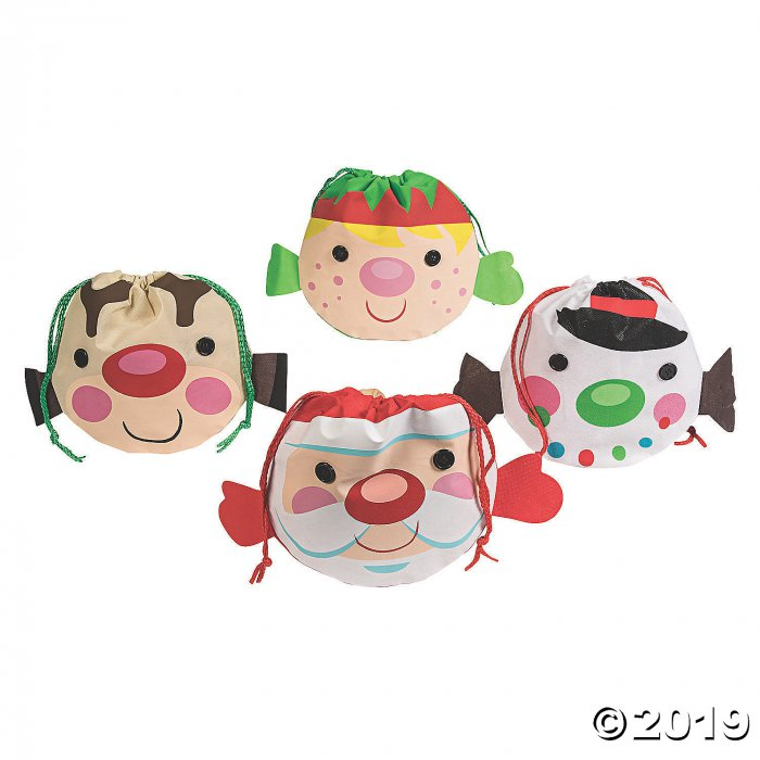 Medium Cheery Christmas Drawstring Bags (Per Dozen)