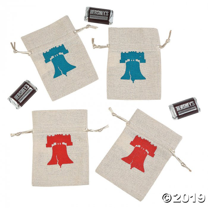 Mini Rustic Patriotic Canvas Drawstring Treat Bags (Per Dozen)