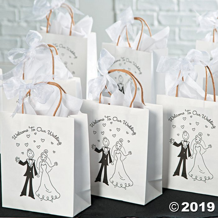 Medium Happy Couple Kraft Paper Gift Bags - 12 Pc. (Per Dozen)