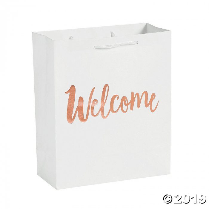 Medium Welcome White Gift Bags with Rose Gold Foil (Per Dozen)