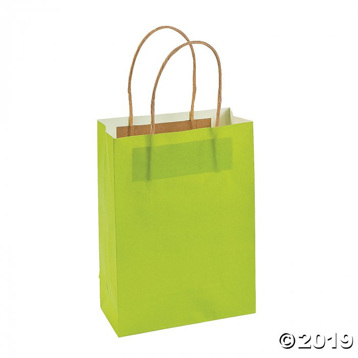 Medium Lime Green Kraft Paper Gift Bags (Per Dozen)