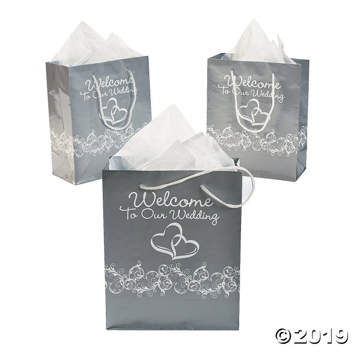 Medium Silver Two Hearts Welcome To Our Wedding Gift Bags (Per Dozen)